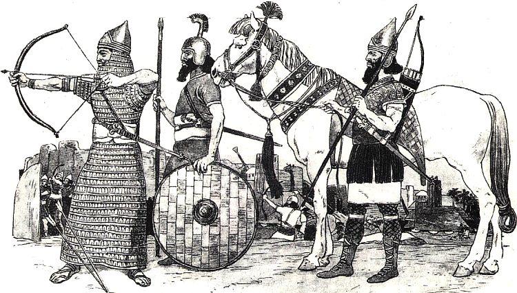 Ассирийские воины. Фото Ассирияпериод расцвета государства.