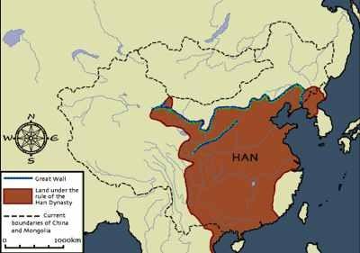 Территория империи Хань во 2-1 веках до н.э.