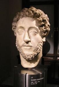 бюст императора коммода в музее.