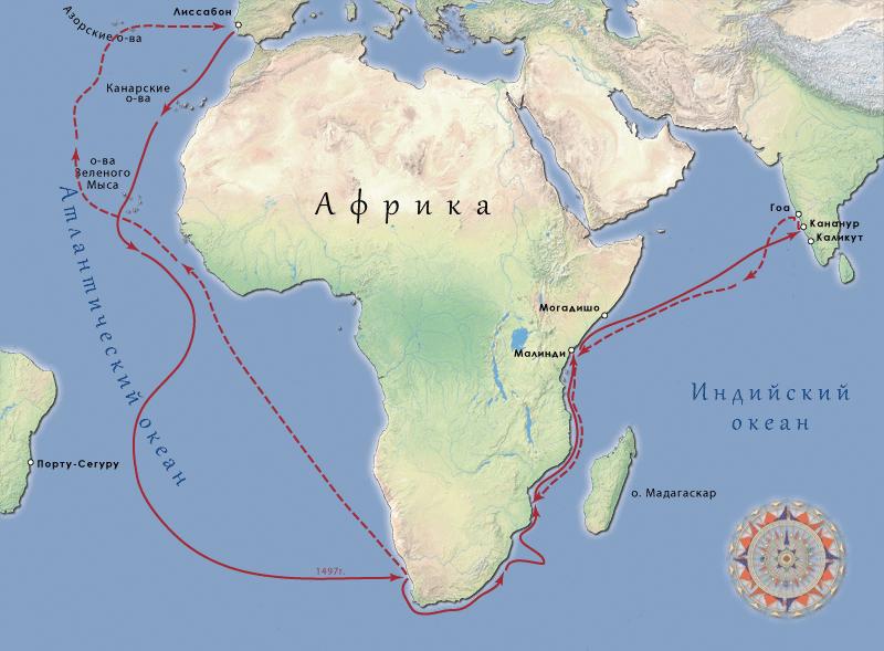 Открытие морского пути в Индию Васко да Гамой.