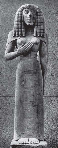 Скульптура, ее типы, направления и школы  в архаическую эпоху в древней Греции.