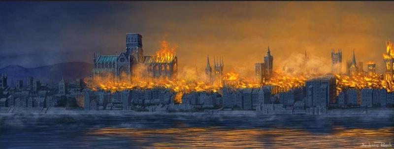 Великий Лондонский пожар. Быстрое распространение пожара по городу.